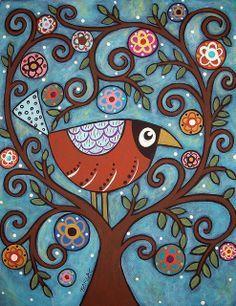 Inspiration for a modern folk art quilt - Funky Bird by karlagerard, via Flickr