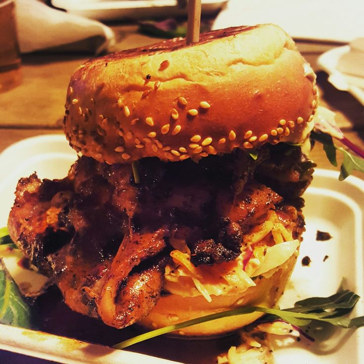Jerk Chicken Burger in London, UK, Europe