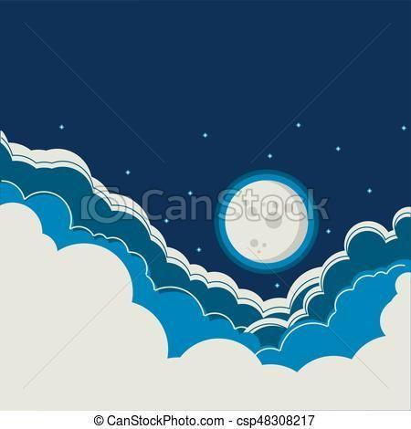 lleno, nubes, cielo, luna, plano de fondo, noche Vector - stock de ilustracion, ilustracion libre de, stock de iconos de clip art, logo, arte lineal, retrato de EPS, Retratos, gráficos, dibujos gráficos, dibujos, imágenes vectoriales, trabajo artístico, Arte Vectorial en EPS