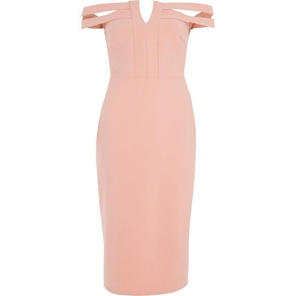 River Island Light pink bardot bodycon midi dress ($110) ❤ liked on Polyvore featuring dresses, bodycon dresses, pink, women, tall dresses, cutout bodycon dresses, light pink bodycon dress, cut-out dresses and pink bodycon dress