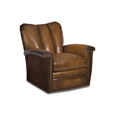 Hancock And Moore 6121 C S Tulip Leather Channeled Swivel Chair Available  At Hickory Park Furniture