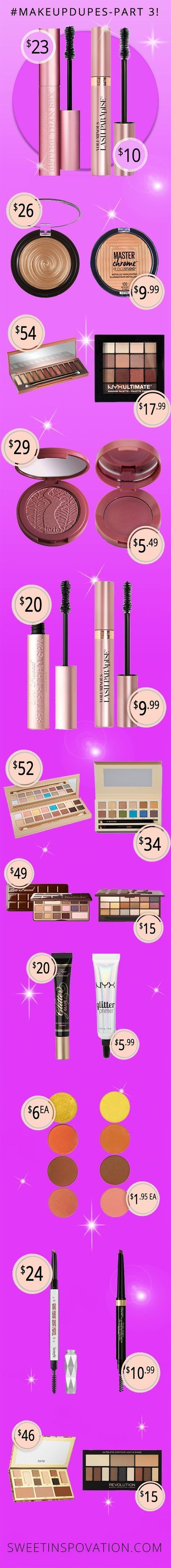 """Welcome to Part 3 of our Makeup Dupes series! These 10 high-end makeup products can be """"duped"""" with these Drugstore Makeup Products!"""