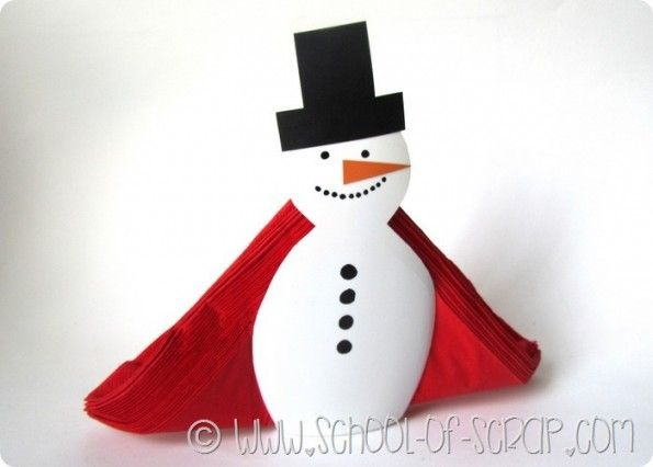 Idee per Natale: il portatovaglioli da tavolo faidate a forma di pupazzo di neve