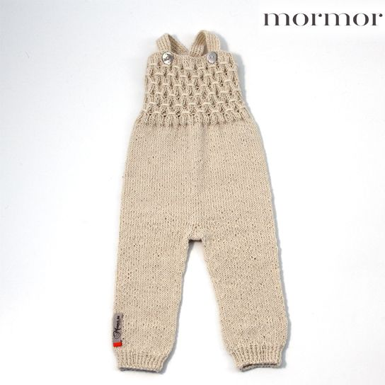mormor.nu Smock overalls offwhite darkgreen brown. High quality knitwear for children. Danish design made in Denmark #babyclothing #kidsclothing #warmclothes #softknit #Alpaca