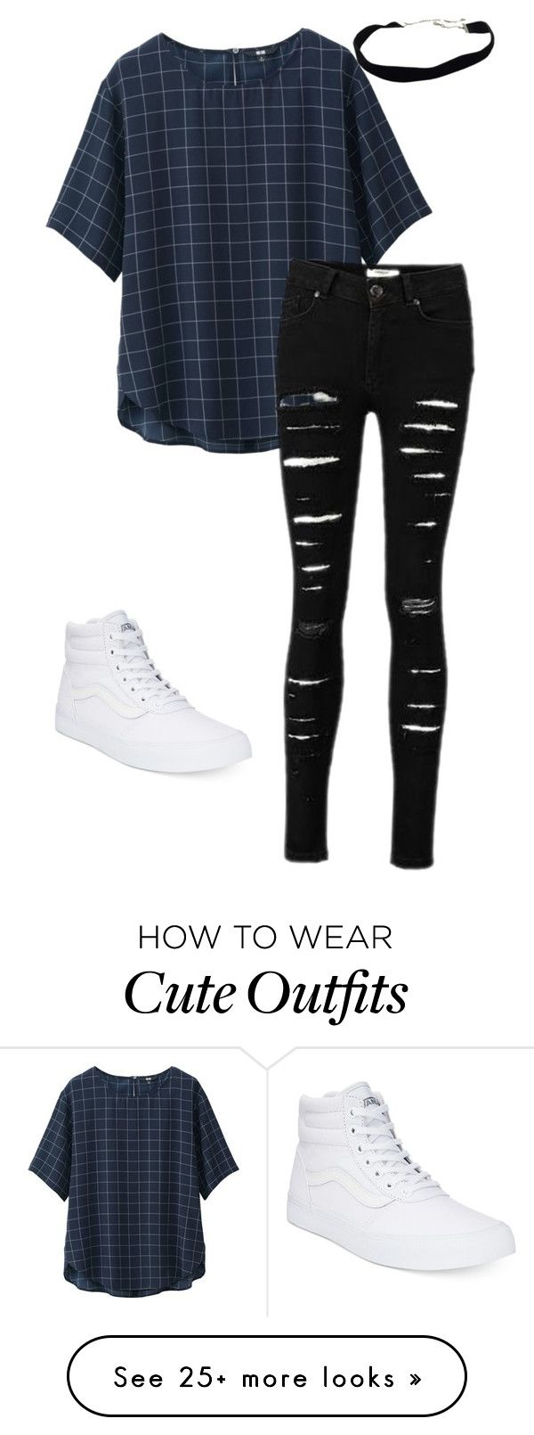 """""""Cute outfit"""" by littlestillinski on Polyvore featuring Uniqlo and Vans"""