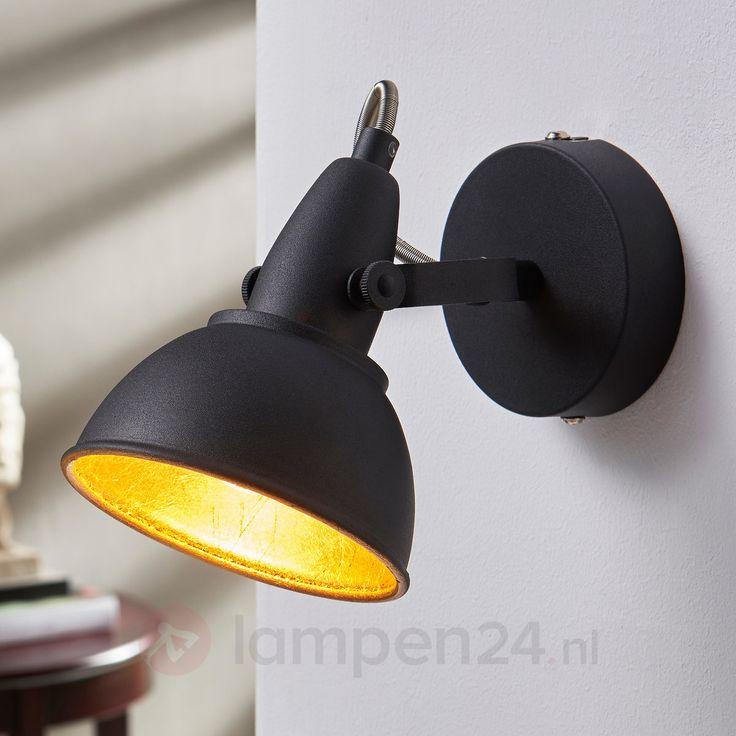 Zwart-gouden wandlamp Julin veilig & makkelijk online bestellen op lampen24.nl