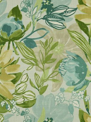 Aqua Yellow Floral Fabric Modern Upholstery By