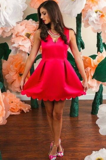 Hello Gorgeous! You can never go wrong with pink! This gorgeous, pink scalloped dress is begging to be in your closet! Repin!