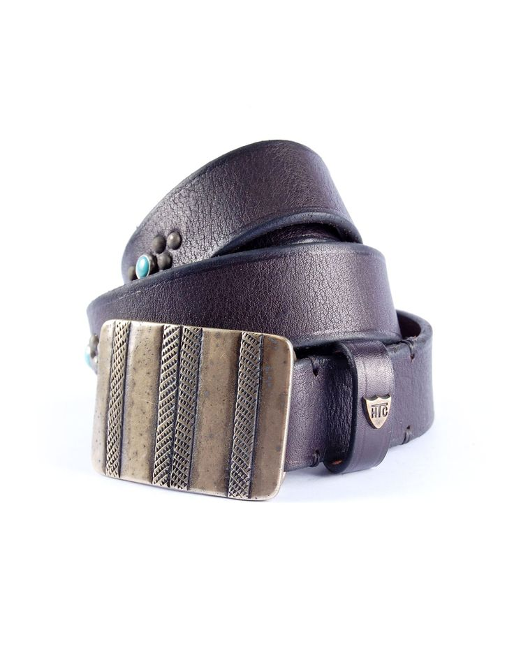 MYSTIC BUCKLE - cintura in pelle nera con fibbia finitura bronzo, motivo decorativo con cabochon bronzo e turchesi, made in italy, altezza: 3 cm.  #htclosangeles #hollywoodtradingcompany #weareartisans #belt #leather