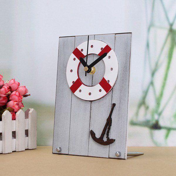 European Mediterranean Style Clock Table Desktop Clock Wood For Gift Room Decor