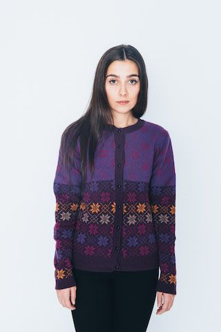 Barbara cardigan (purple) by Navia from The Island Wool Company- Faroese By Design - Nordic By Nature