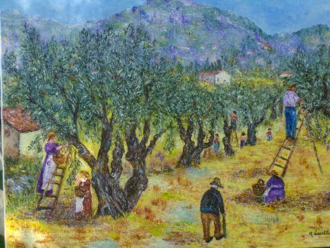 Monique Laville - La cueillette des olives a ST JEANNET