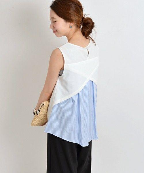 SHIPS for women casual(シップスフォーウィメンカジュアル)の布帛コンビノースリーブ(シャツ/ブラウス) ライトホワイト
