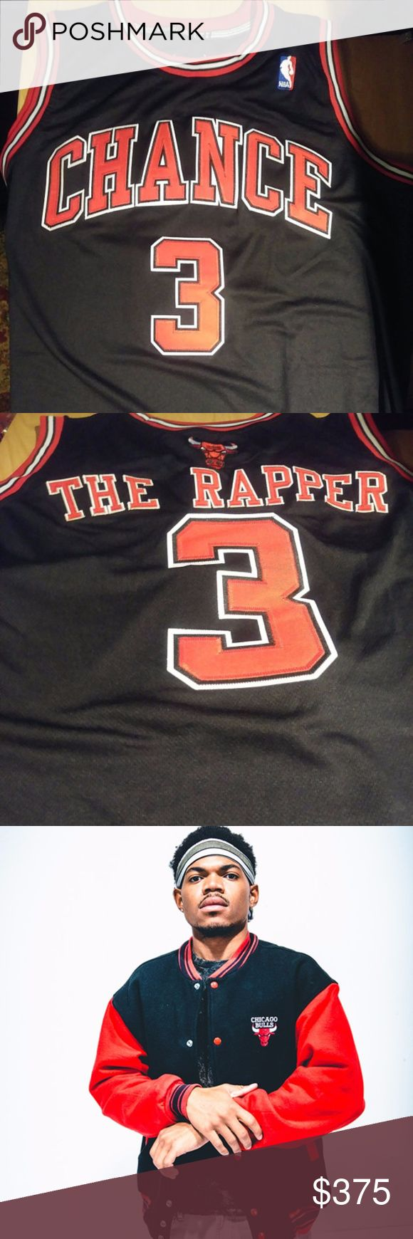Chance the Rapper Chicago Hip Hop Chi Bulls Jersey Grammy award winning Chicago native hip hop artist Chance the Rapper jersey. This piece is one of a kind. 1 of 1. Custom Chicago Bulls design and colors. This is a size large, brand new and unworn.   Great gift for any Chance or Chicago Bulls fans.  Size: Large Shirts Tank Tops