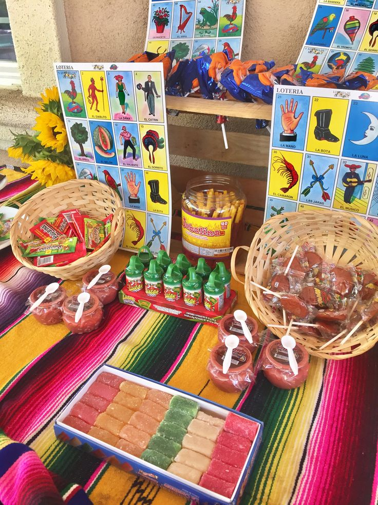 Fiesta mexicana ! Mexican theme party . Our dessert table . Mexican candy and lotería cards display . Fiesta ! Fiesta ! Colorful Mexican candy dessert table .