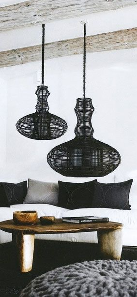 = pendants, table and knitted ottoman: