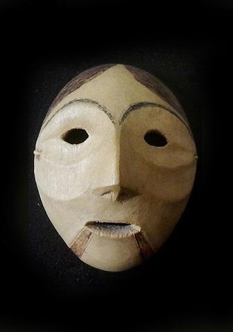 Inupiat Shaman mask  King Island, Alaska  2 inches, wood