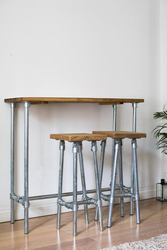 Industrial Style Breakfast Bar With Steel Legs Reclaimed Wood Top Kitchen Bar Table Kitchen Bar Breakfast Bar Table