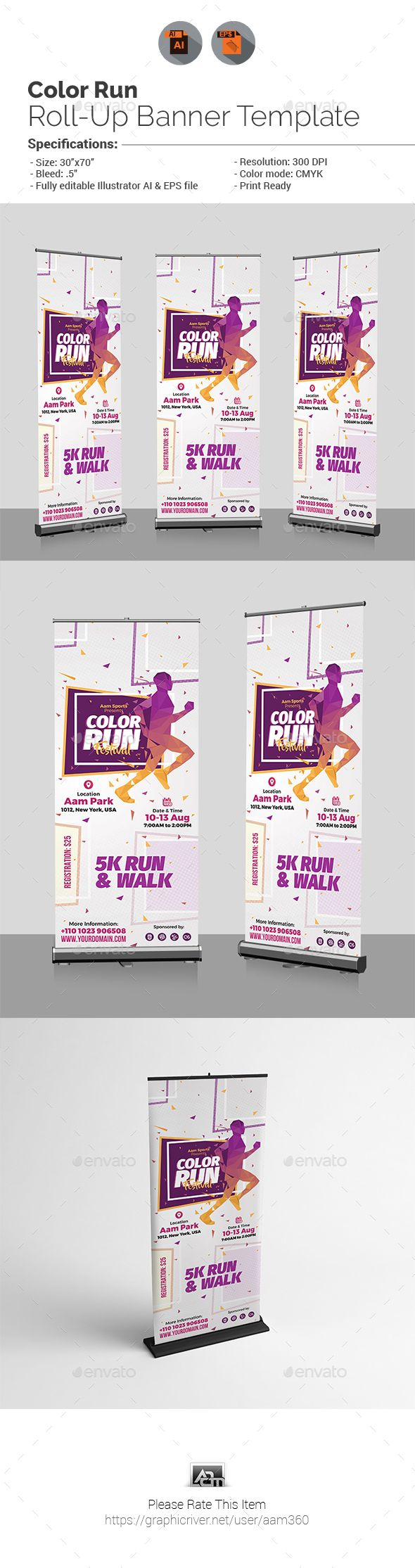 Color Run Roll-Up Banner Template by aam360 Similar Templates:INFORMATIONS FOR T...