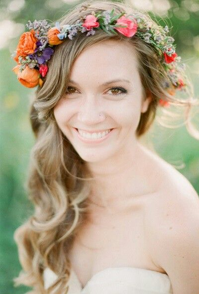 {Pretty, Fresh Floral Crown In An Autumn Color Palette: Orange Ranunculus, Lavender, Purple Orchids, Blue Orchids, & Hot Pink Sweet Peas, + Greenery/Foliage········}