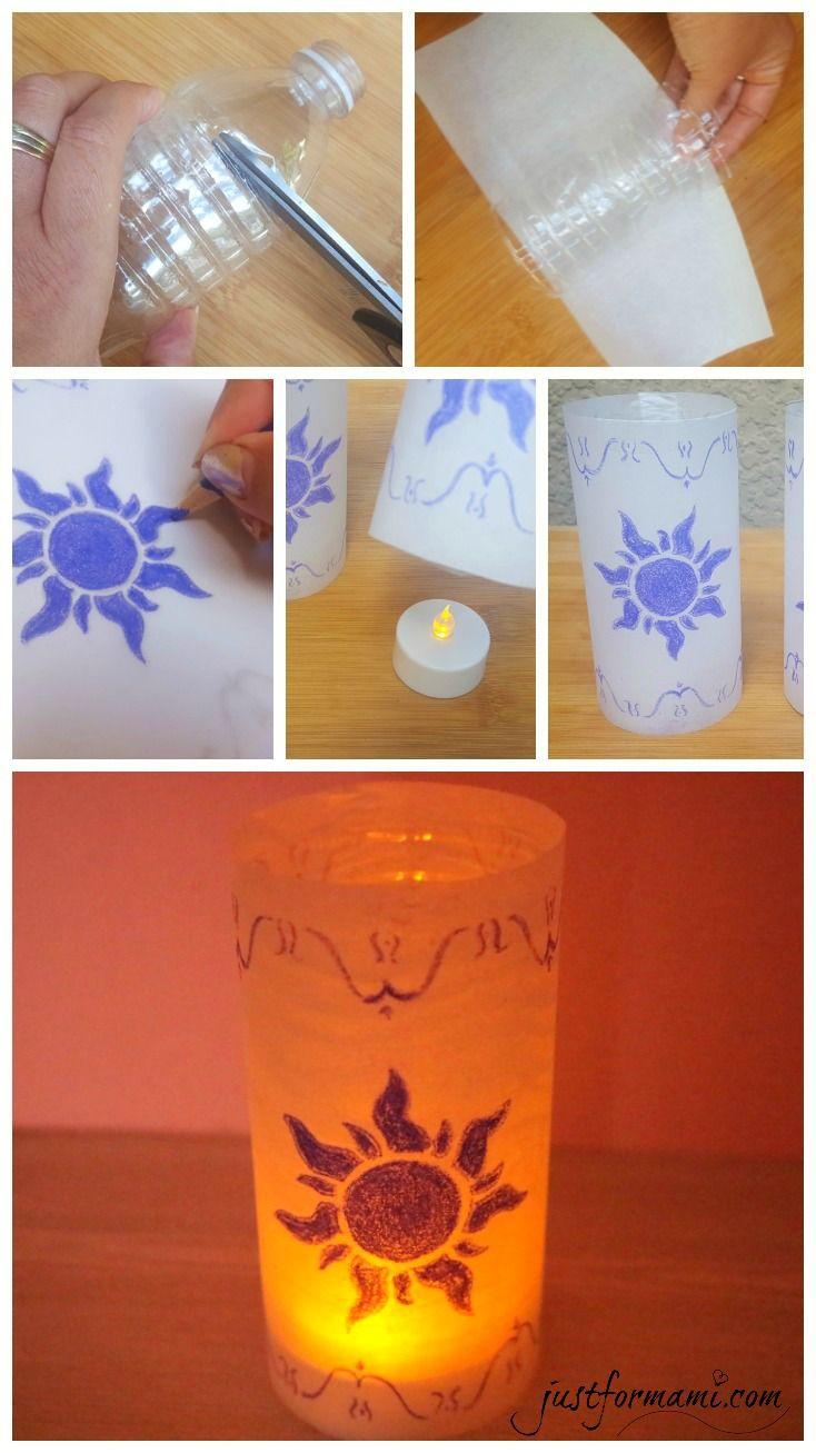 Linternas de Papel de la película Tangled. Hechas reciclando botellas plásticas, un proyecto fácil para hacer con niños que podemos usar para decoración o para una fiesta infantil con tema de Rapunzel