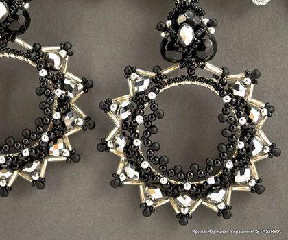 SILVER Серьги с кристаллами - серьги,черные серьги,крупные серьги,купить серьги