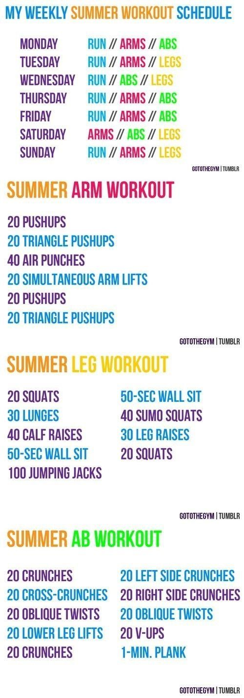 Summer Workout Schedule - Infographic | Graphics Pedia