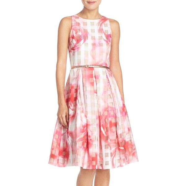 Eliza J Floral Organza Fit & Flare Dress ($178) ❤ liked on Polyvore featuring dresses, petite, pink print, pink sleeveless dress, fit flare dress, pink floral dress, cutout dress and skinny belt