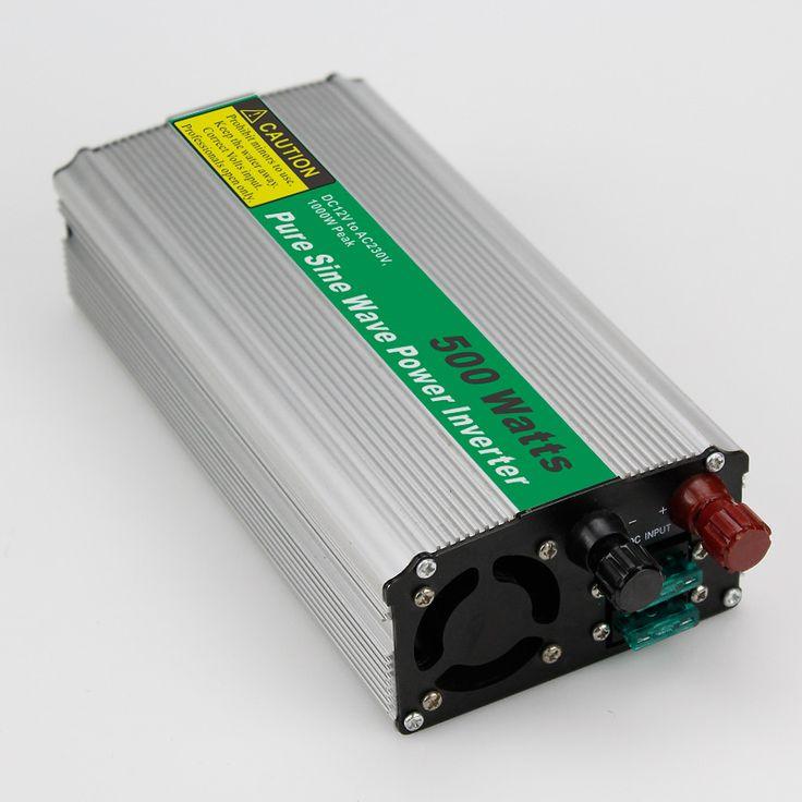 MAYLAR@ 1pc 00W Car Power Inverter Converter DC 12V to AC 110V or 220V Pure Sine Wave Peak 1000W Power Solar inverters #Affiliate