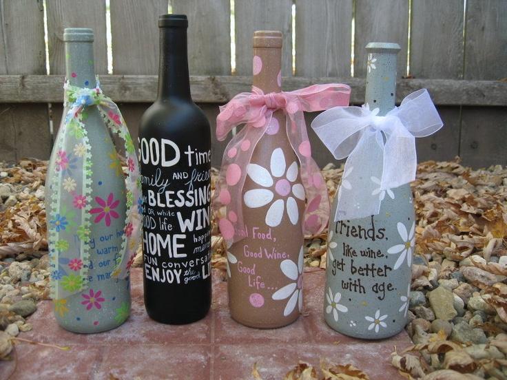 Decorate wine bottles for kitchen