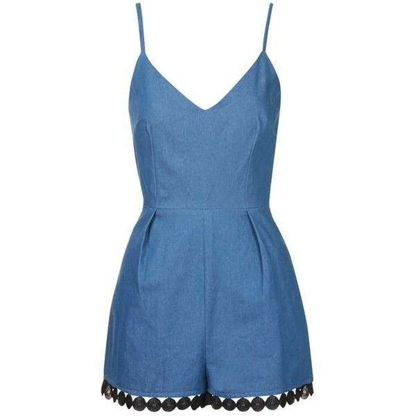Free the Mind - Denim Playsuit by Goldie ($57) ❤ liked on Polyvore featuring jumpsuits, rompers, topshop romper, denim romper, blue rompers, topshop and denim rompers