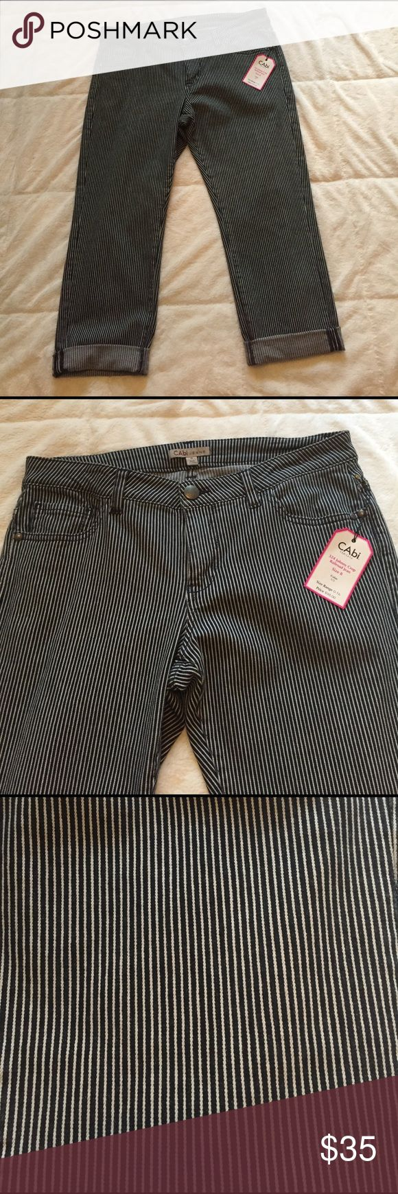 """CAbi Johnny Crop Railroad Jean CAbi Johnny Crop Railroad Jean, 98% Cotton 2% Spandex,  5 pocket style, shown double rolled and unrolled, 16 1/2"""" waist, 9 1/2"""" rise, 25 1/2"""" inseam uncuffed, 34"""" length uncuffed. NWT from smoke free home. CAbi Jeans Ankle & Cropped"""