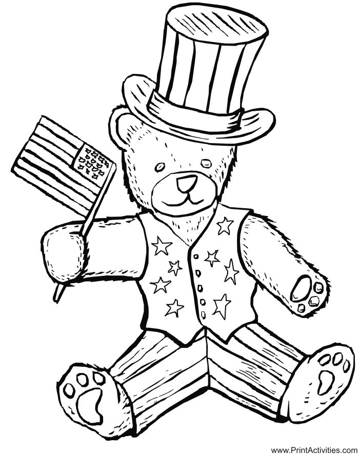 fourth of july coloring page patriotic teddy bear
