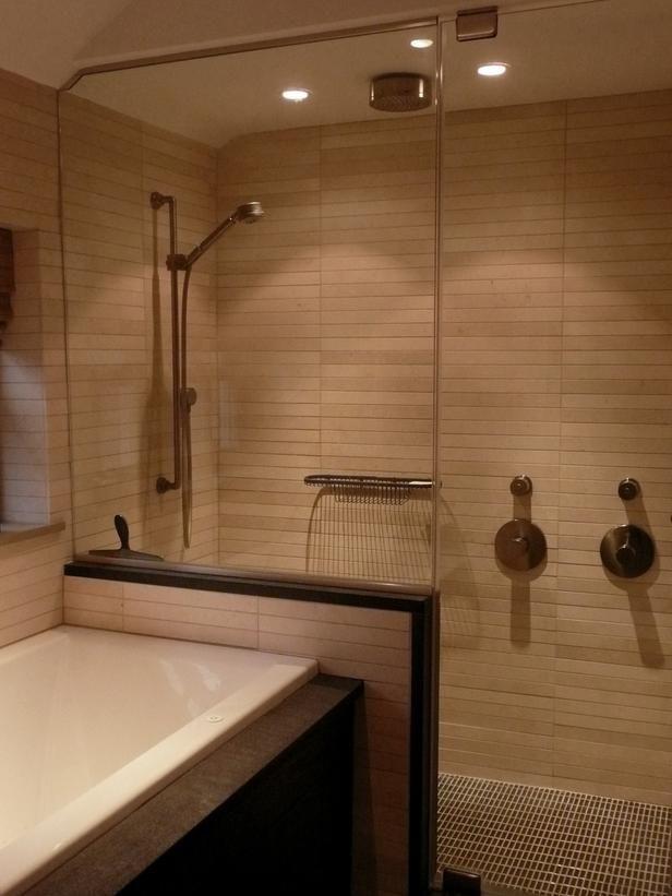 Asian Bathroom with Mosaic Tile and Bamboo Mirror : Designers' Portfolio : HGTV - Home & Garden Television
