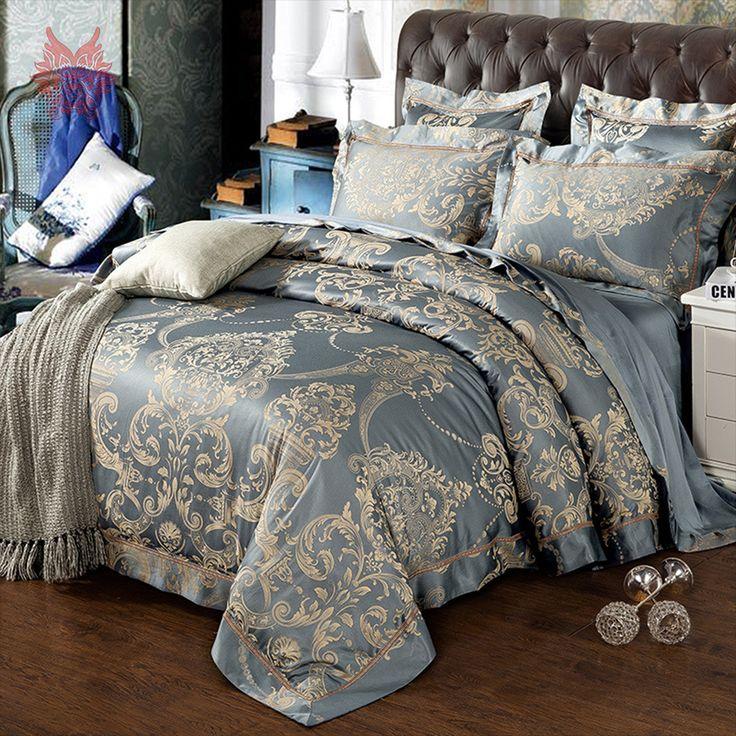 Palace floral jacquard bedding sets cotton tribute silk duvet cover set bed sheet type queen king size ropa de cama SP4147 #Affiliate