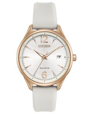 Citizen Eco-Drive Women's White Silicone Strap Watch 36mm | macys.com