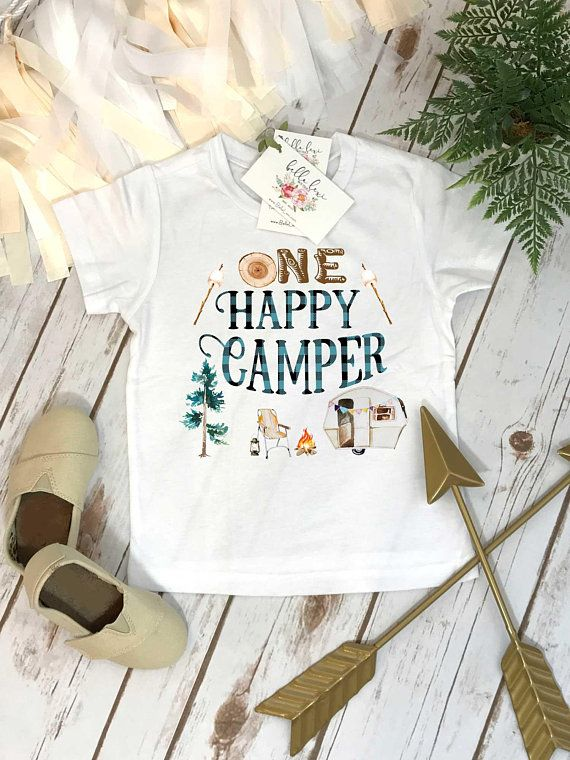 2ae2da15d3e0e One Happy Camper Birthday Shirt. This adorable Plaid Camping Theme Birthday  Boy design features words