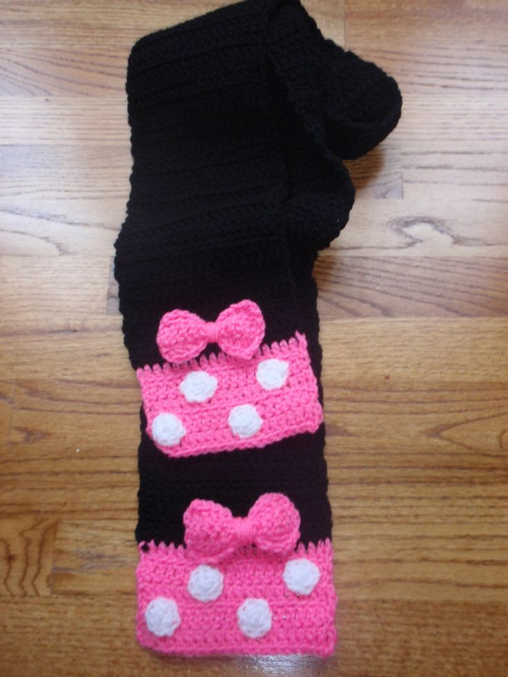 Minnie or Mickey Mouse Crochet Scarf to match Hat. $17.00, via Etsy.
