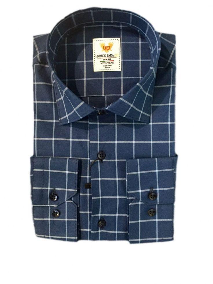 Купить Мужская приталенная рубашка в крупную клетку голубого цвета в интернет магазине мужской одежды OTOKODESIGN