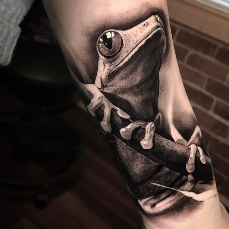 realistic black and white tree frog tattoo design
