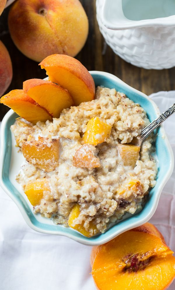 Crock Pot Peaches and Cream Oatmeal by spicysouthernkitchen #Oatmeal #Crockpot #Peaches