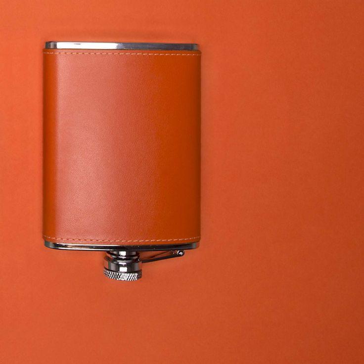 Ettinger London - Luxury Leather - Sterling Orange 6oz Captive Top Flask