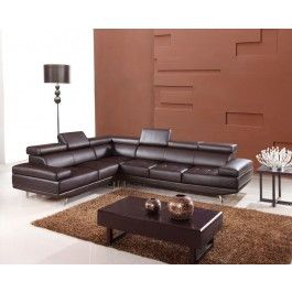 9054 Modern Brown Leather Sectional Sofa -