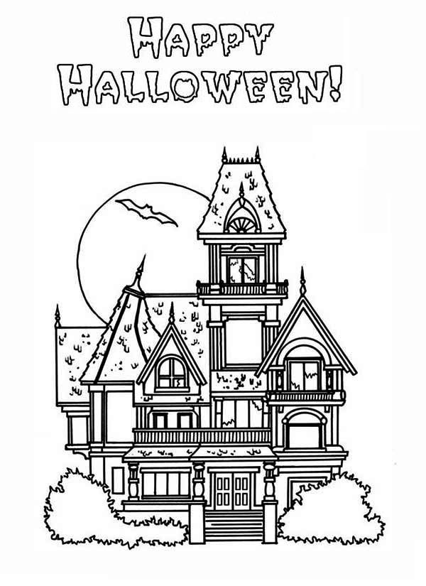 Happy Halloween in Haunted House Coloring Page: Happy