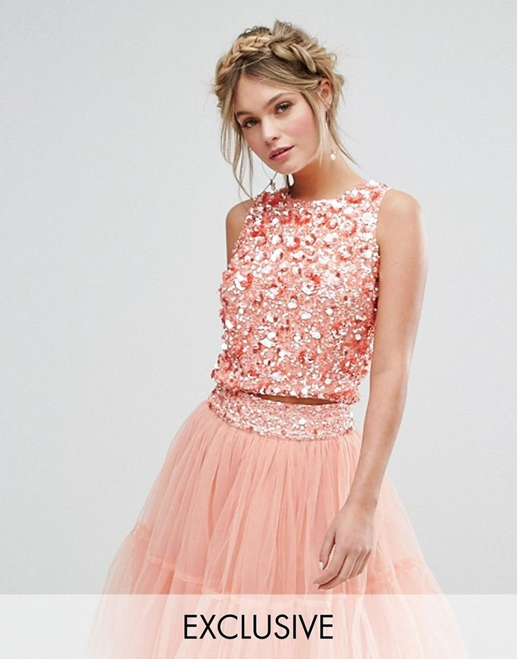 Buy it now. Lace & Beads Crop Top with 3D Embellishment Co-ord - Orange. Top by Lace Beads, Midweight woven fabric, Fully lined, Round neck, Sequin and diamante embellishment, Zip and button-keyhole back, Crop cut, Regular fit - true to size. , Hand wash, 100% Nylon, Our model wears a UK 8/EU 36/US 4 and is 170cm/5'7 tall, Exclusive to ASOS. London-based label Lace Beads know sparkly dresses are always a good idea, so create the perfect handcrafted party pieces for your BNO. Expect standout…