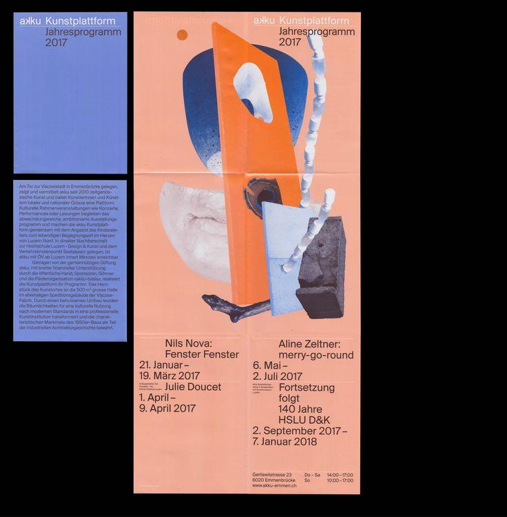 Faltplakate für die akku Kunstplattform im Luzern