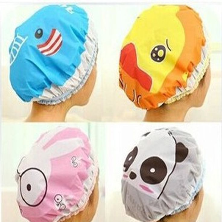 1PC Bathroom Accessories Waterproof Shower Hat Elastic Band Hat Bath Hat Cute Cartoon Rabbit Elepant Lion Duck Panda Shower Hats <3 Detailed information can be found by clicking on the VISIT button