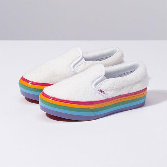 f01b9d40bdb Shearling Rainbow Slip-On Platform