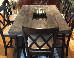 Rustic Butcher Block Table With Metal Inlay