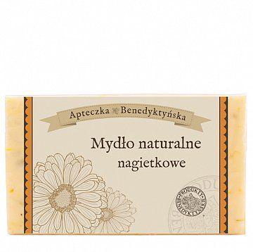 Mydło naturalne nagietkowe 130 g - Produkty Benedyktyńskie    Mydło nagietkowe z naturalnych olejów roślinnych i ekstraktów ziołowych. Ma działanie kojące, łagodzące. Mydło nagietkowe szczególnie polecane jest dla osób o s...